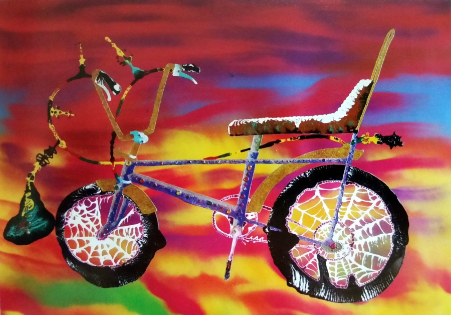 Twirl and Pain 2014 Acrylic, enamel paint, rhinestones and glitter on paper 137 x 134cm