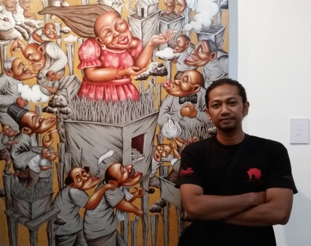 Luddy Astaghis with Miss Roro Mendut 2014 Acrylic on canvas 150cm x 130cm