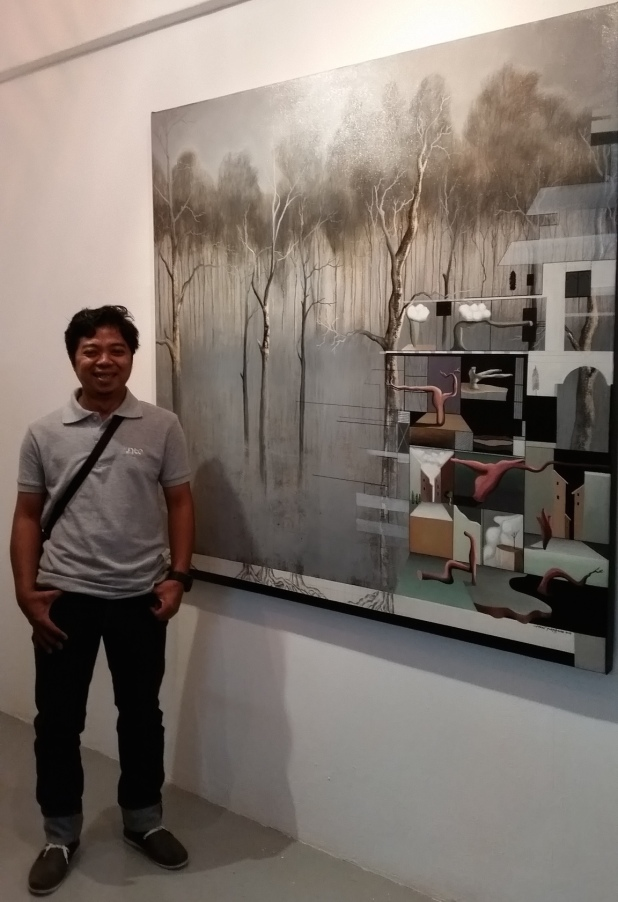 Heri Purwanto with Floating Land; Now and Tomorrow #3 2014 Acrylic, pencil and marker on canvas 125cm x 145cm