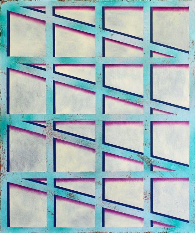 Window 18  oil, acrylic, enamel paint on MDF board with powder coated steel frames  2014/15