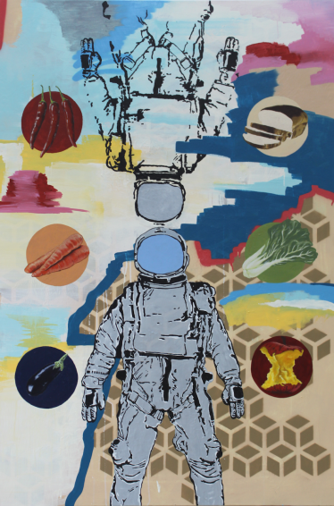 Sure and Uncertainty Industrial Paint, Spray Paint,  Acrylic on Canvas 100cm x 150cm 2015
