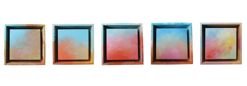 Sofia Haron, Waves of Thoughts Series Wind. Oil on canvas and gloss paint on wood frame. 20.5 x 20.5 cm (each x5). (2018)